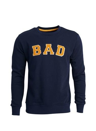 Bad Bear Bisiklet Yaka Baskılı Erkek Sweatshirt Lacivert